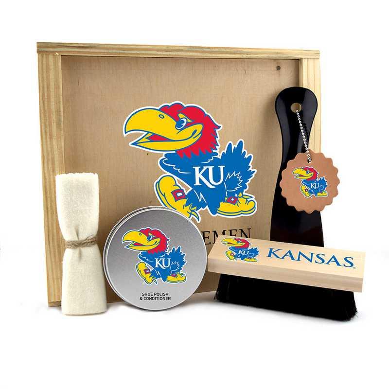 KS-KU-GK1: Kansas Jayhawks Gentlemen's Shoe Care Gift Box