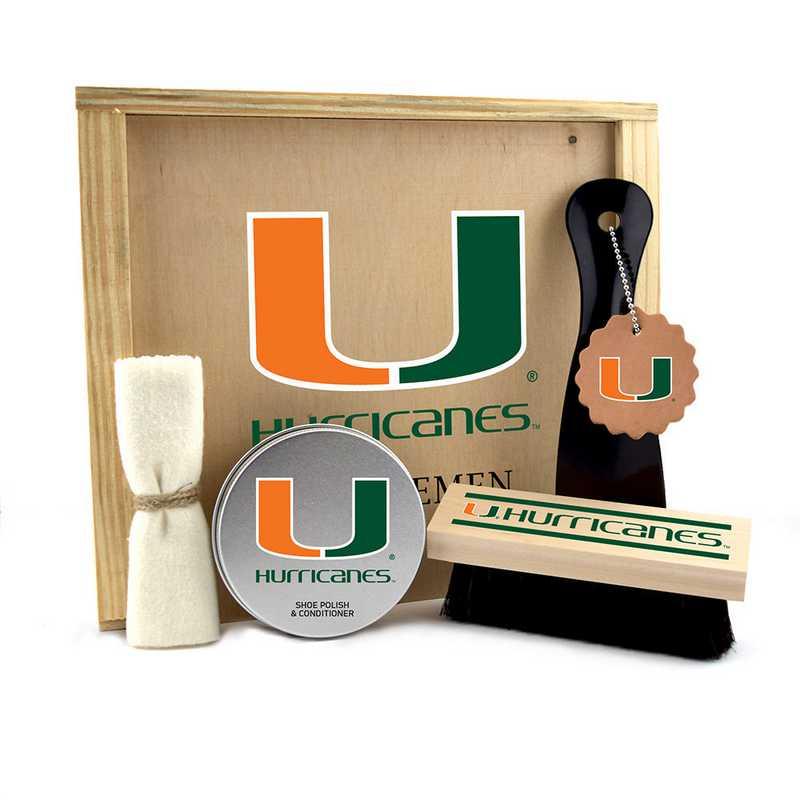 FL-UM-GK1: Miami Hurricanes Gentlemen's Shoe Care Gift Box