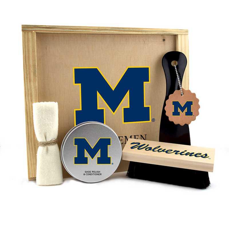 MI-UM-GK1: Michigan Wolverines Gentlemen's Shoe Care Gift Box