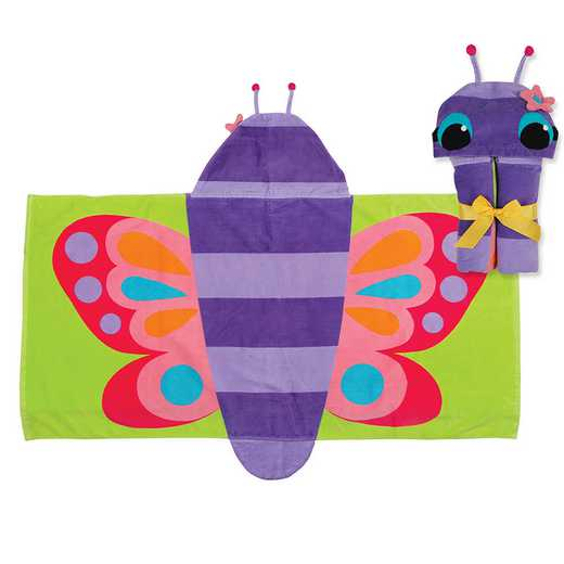 SJ100425A: SJ HOODED TOWEL  BUTTERFLY