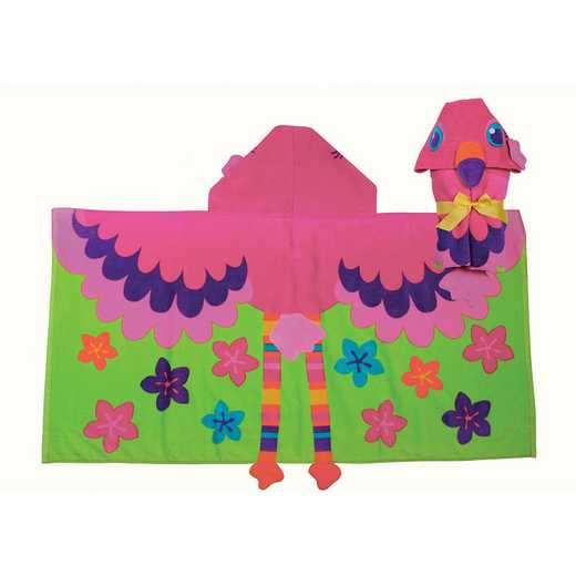 SJ100450: SJ HOODED TOWEL  FLAMINGO (S17)