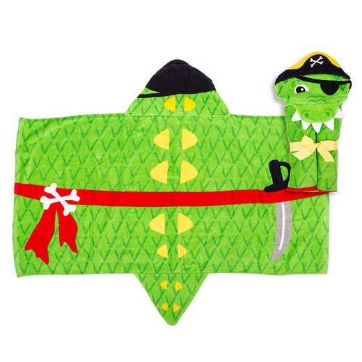 SJ100454A: SJ HOODED TOWEL  ALLIGATOR PIRATE (S18)