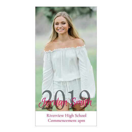 Senior Year Pure Portrait 4 x 8 Graduation Photo Card