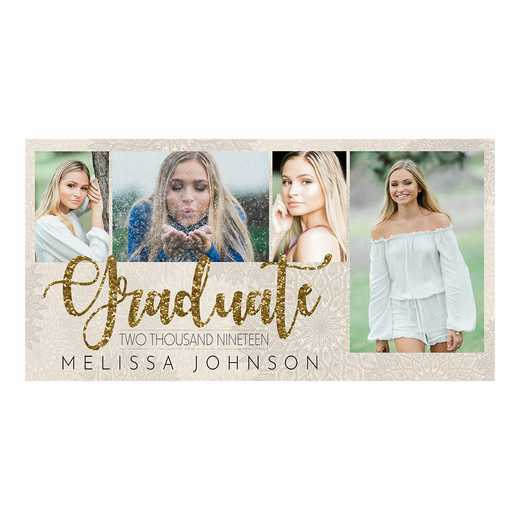 Glitzy Gold 8 x 4 Graduation Photo Announcement