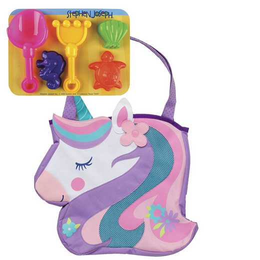 SJ100321: SJ  BEACH TOTES (w/sand toy play set)  UNICORN