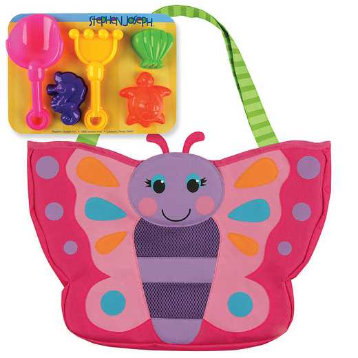 SJ100325A: SJ  BEACH TOTES (w/sand toy play set) BUTTERFLY