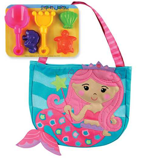 SJ100328A: SJ  BEACH TOTES (w/sand toy play set) MERMAID