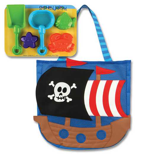SJ100329: SJ  BEACH TOTES (w/sand toy play set) PIRATE