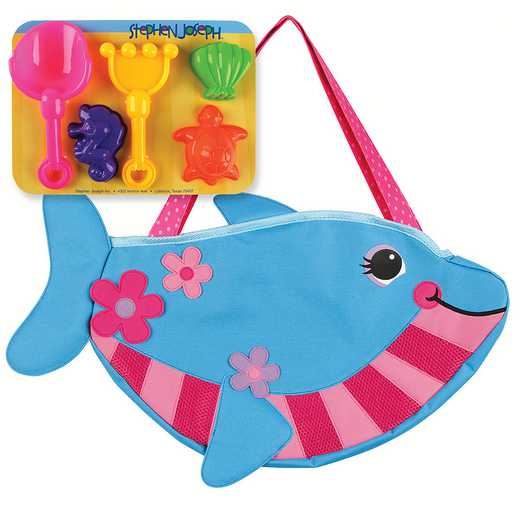 SJ100335A: SJ  BEACH TOTES (w/sand toy play set) DOLPHIN