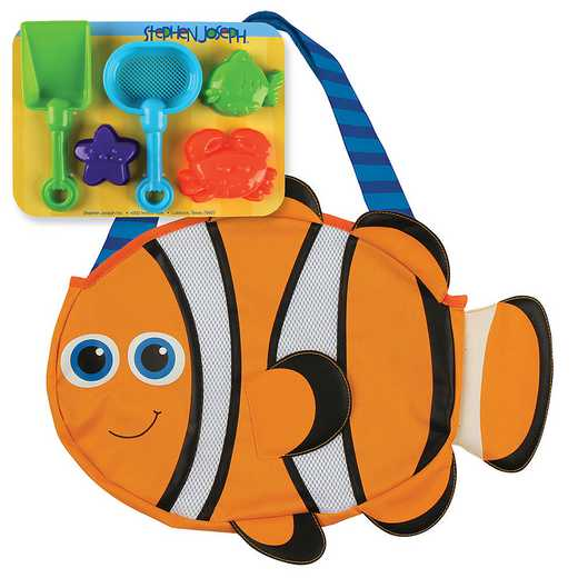 SJ100340A: SJ  BEACH TOTES (w/sand toy play set) CLOWNFISH