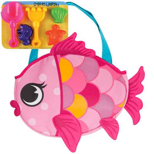 SJ100340B: SJ  BEACH TOTES (w/sand toy play set)  FISH