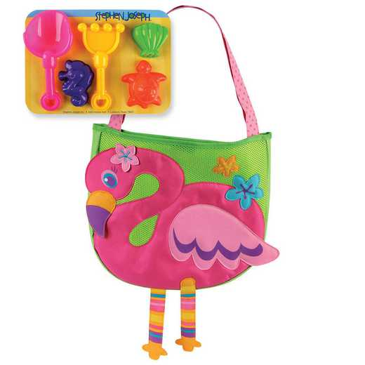 SJ100350: SJ  BEACH TOTES (w/sand toy play set) FLAMINGO