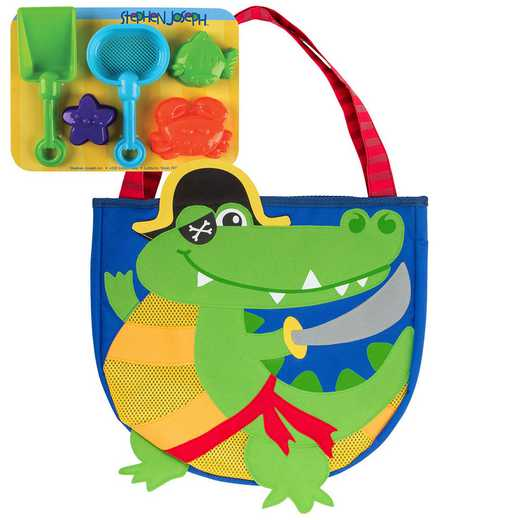 SJ100354B: SJ  BEACH TOTES (w/sand toy play set)  ALLIGATOR PIRATE