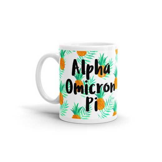 MG125: TS Alpha Omicron Pi All Over Pineapple Print Coffee Mug