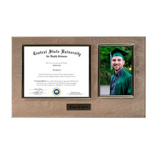 DM68-LWB3WO: Diploma Plaque Wall Mount w/4x6 Photo Weathered Oak- 6X8
