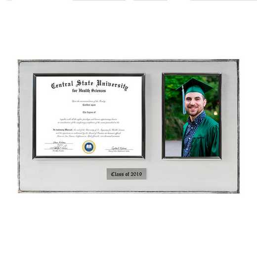 DM68-LWB3WH: Diploma Plaque Wall Mount w/4x6 Photo Whitewashed 6X8
