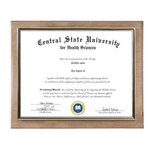 DM68-LWB4WO: Diploma Plaque Wall Mount Weathered Oak-8.5X11