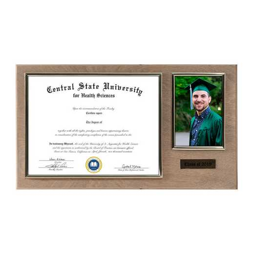 DM68-LWB5WO: Diploma Plaque Wall Mount w/4x6 Photo Weathered Oak- 8.5X11