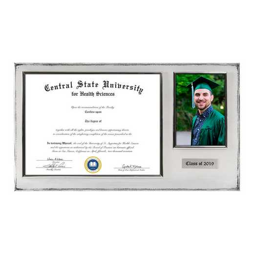 DM68-LWB5WH: Diploma Plaque Wall Mount w/4x6 Photo Whitewashed- 8.5X11