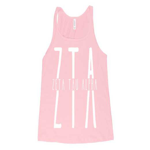 Zeta Tau Alpha Tall Greek Letters Tank Tank Top Pink