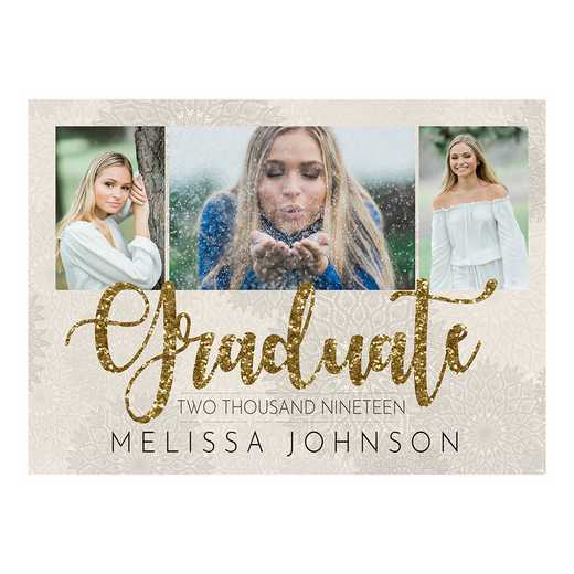 Glitzy Gold 5 x 7 Graduation Photo Announcement