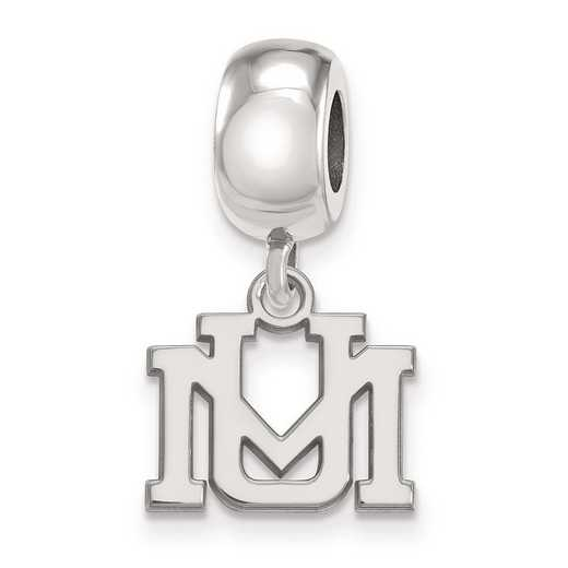 SS016UMT: SS Rh-P Logoart Univ Of Montana Xs Reflection Beads Charm