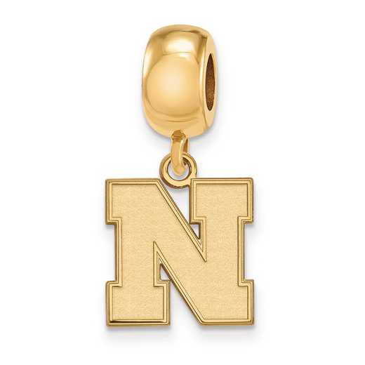 GP066UNE: SS W/GP Logoart U Of Nebraska Small Reflection Beads Charm