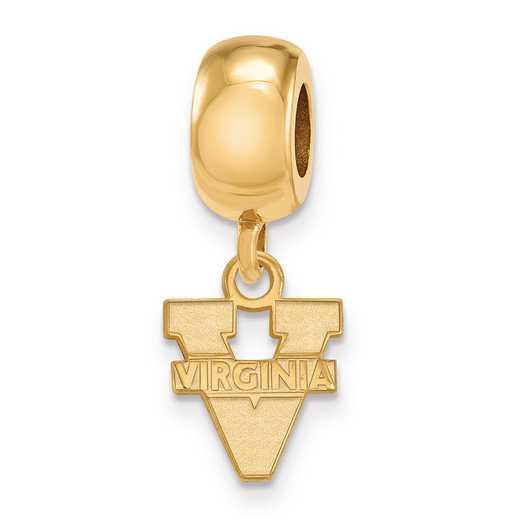 GP035UVA: SS W/GP Logoart Univ Of Virginia Xs Reflection Beads Charm