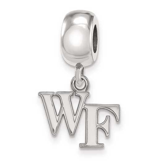 SS029WFU: SS Rh-P Logoart Wake Forest Univ Xs Reflection Beads Charm