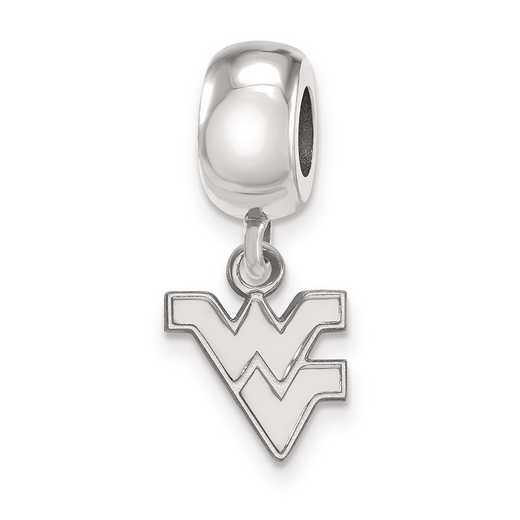 SS035WVU: SS Rh-P Logoart West Virginia Univ Xs Reflection Beads Charm