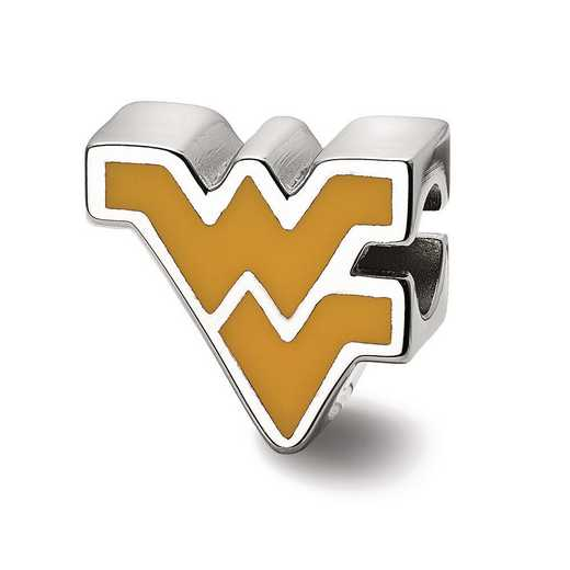SS500WVU: SS Logoart West Virginia U Wv Enameled Logo Reflection Beads