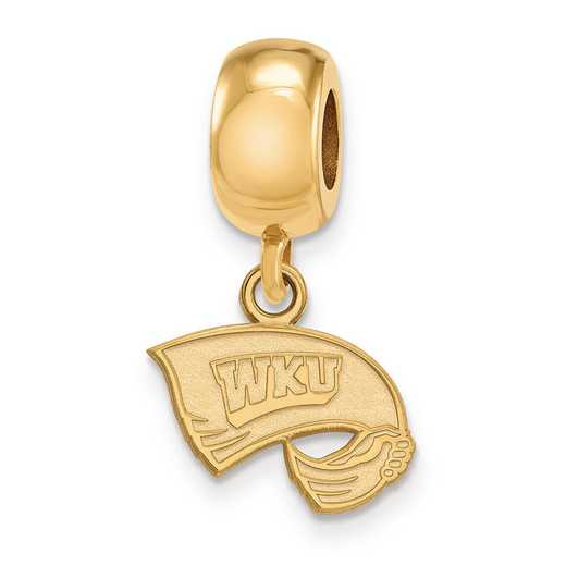 GP013WKU: SS W/GP Logoart Western Kentucky U Xs Reflection Beads Charm