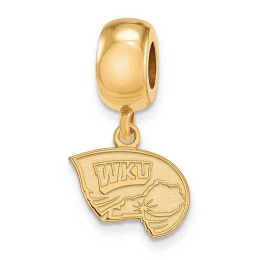 GP018WKU: SS W/GP Logoart Western Kentucky U Xs Reflection Beads Charm