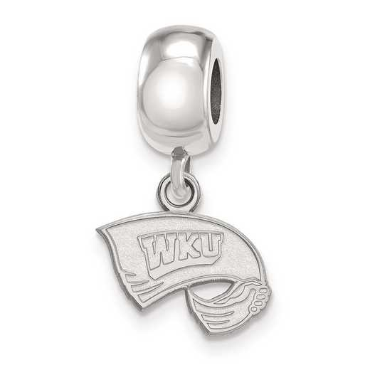 SS013WKU: SS Rh-P Logoart Western Kentucky U Xs Reflection Beads Charm