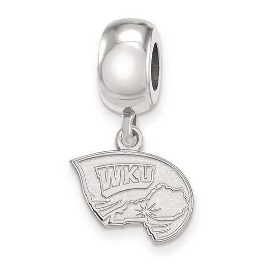 SS018WKU: SS Rh-P Logoart Western Kentucky U Xs Reflection Beads Charm