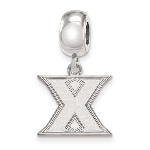 SS010XU: SS Rh-P Logoart Xavier Univ Small Dangle Reflection Beads