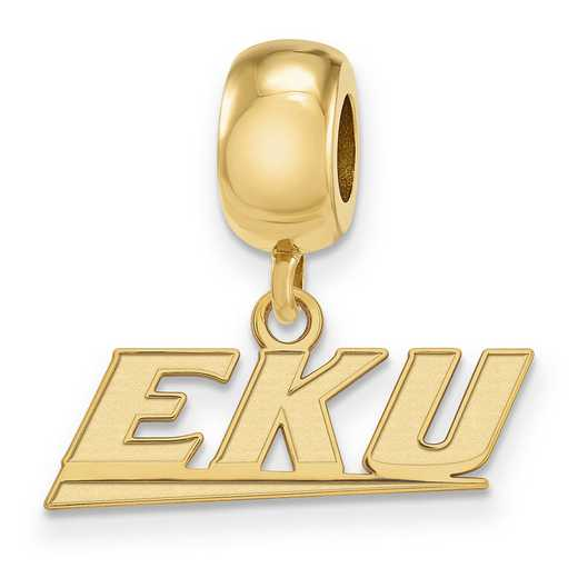 GP011EKU: SS W/GP Logoart Eastern Kentucky U Xs Reflection Beads Charm