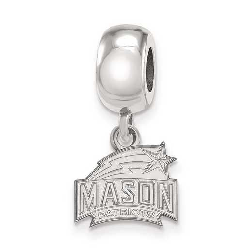 SS007GMU: SS Rh-P Logoart George Mason Univ Xs Reflection Beads Charm