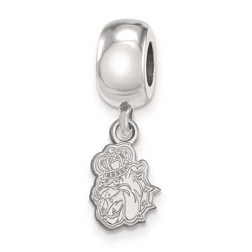 SS012JMU: SS Rh-P Logoart James Madison Univ Reflection Beads Charm