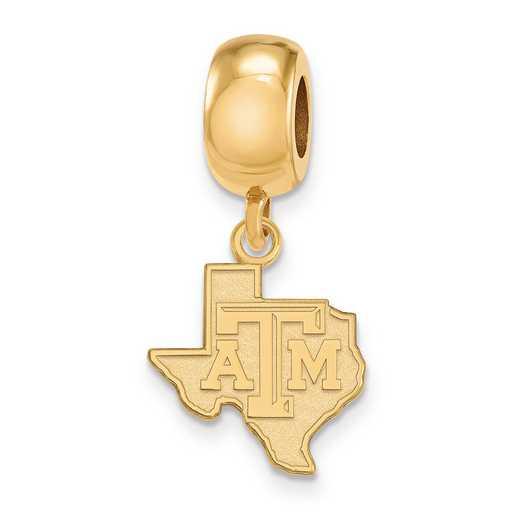 GP053TAM: SS W/GP Logoart Texas A&M Univ Small Dangle Reflection Beads