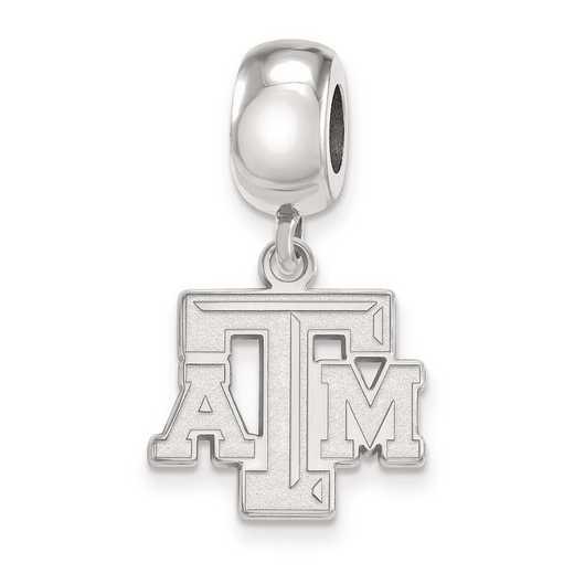 SS030TAM: SS Rh-P Logoart Texas A&M Univ Small Dangle Reflection Beads