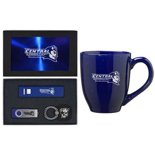 SET-A2-CNTRLCT-BLU: LXG Set A2 Tech Mug, Central Connecticut State