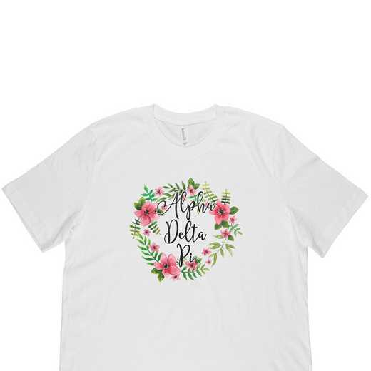 Alpha Delta Pi Floral Wreath T-Shirt White