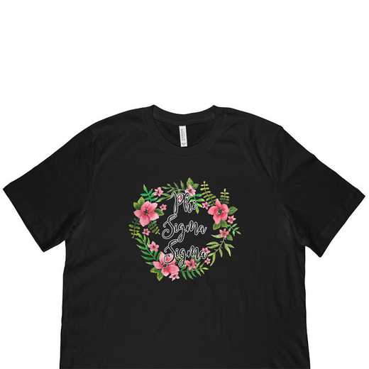 Phi Sigma Sigma Floral Wreath T-Shirt-Black