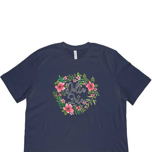 Delta Zeta Floral Wreath T-Shirt-Blue