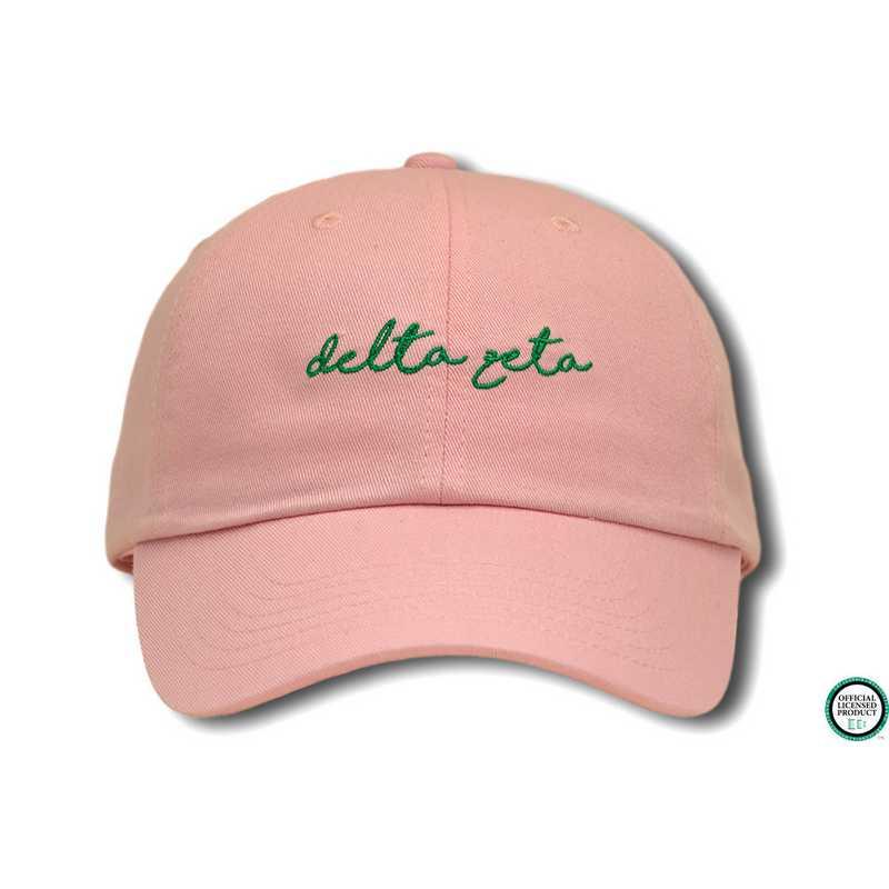44edfb1d1 dzhw1: Delta Zeta Handwriting Script Baseball Cap-Pink/Green