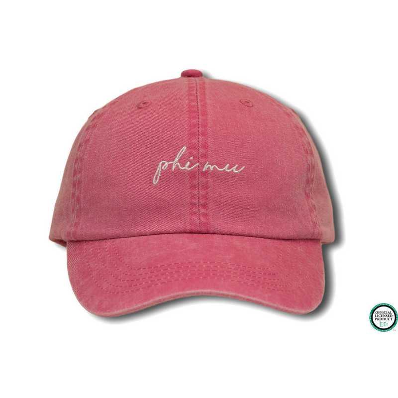 04240d018 phimhw1: Phi Mu Handwriting Script Baseball Cap-Pink/White