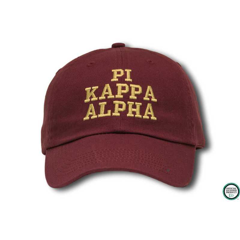 7c97d5b110f6 pikacs1: Pi Kappa Alpha Athletic Baseball Cap-Maroon/Yellow