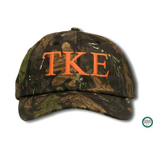 tkego1: Tau Kappa Epsilon Greek Letter Baseball Cap-Camo/Red