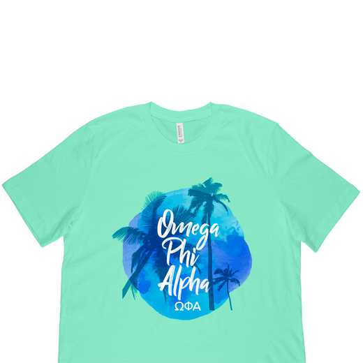 Omega Phi Alpha Tropical Palm Tree Sunset-Green
